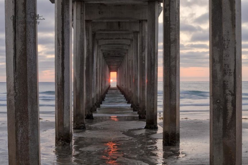 Sunset at Scripps pier La Jolla
