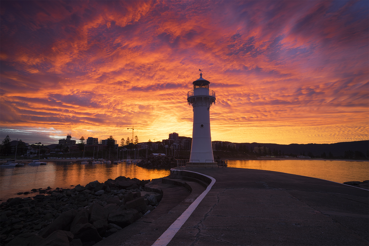 Sunset at Wollongong Harbour and Historic Lighthouse