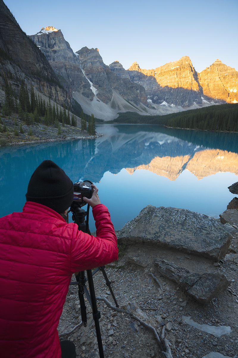 Photographing Moraine Lake AB Canada