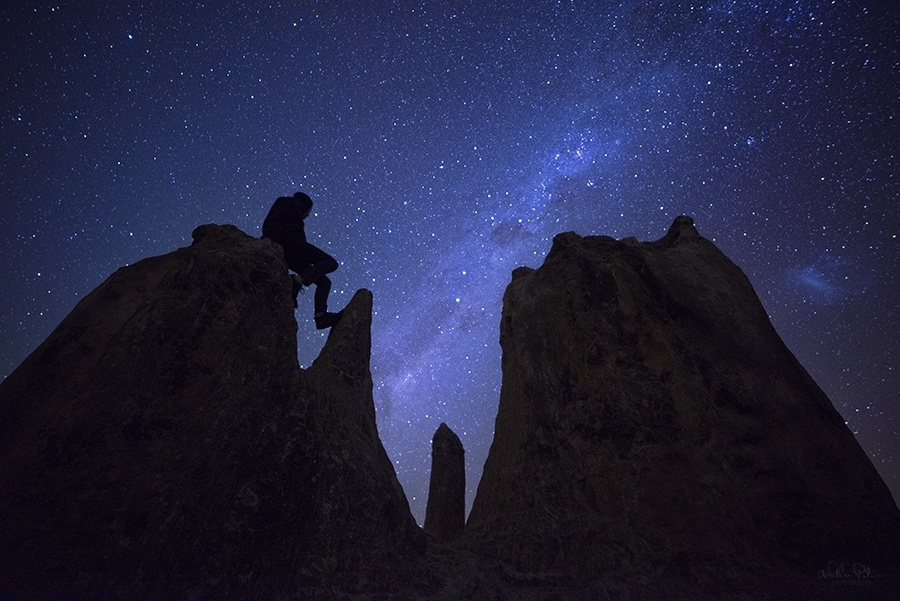 A man silhouetted against the Milky Way.