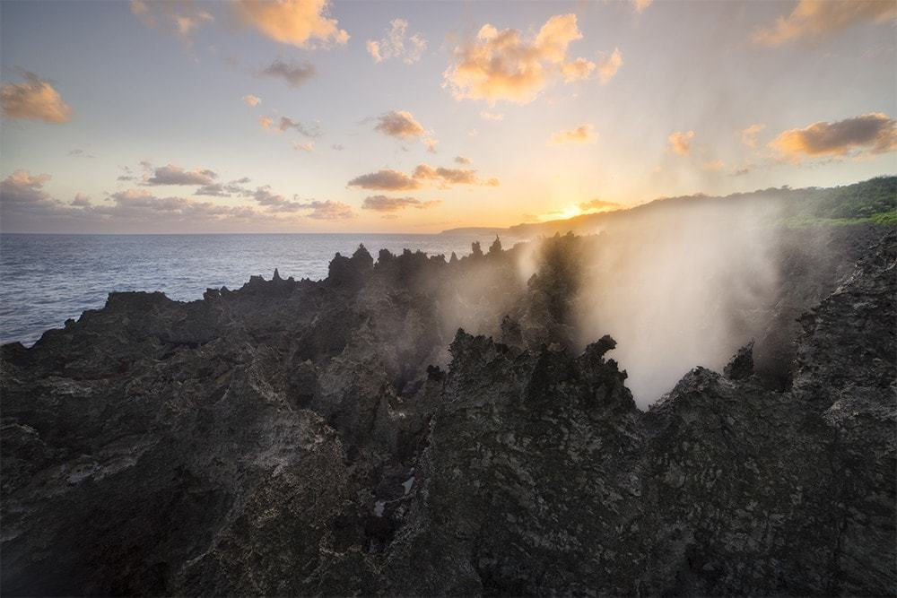 Blowholes at sunset on Christmas Island.