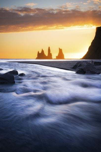 Sunset over the sea in south Iceland