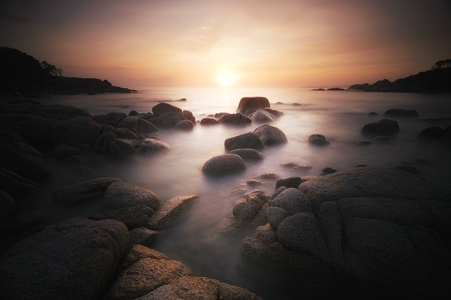 A fiery sunrise, Binalong Bay