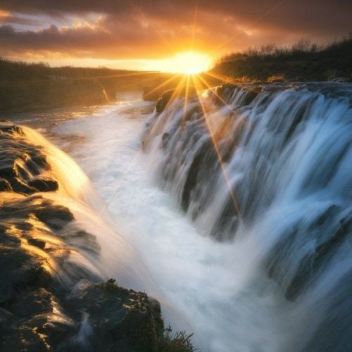 Sunrise Bruarfoss Waterfall in Iceland