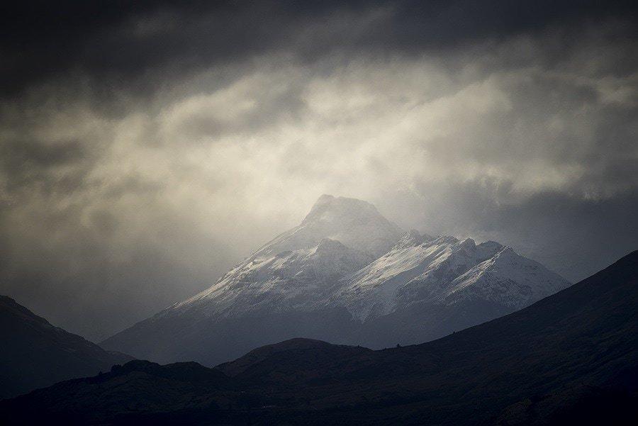 A dramatic mountain scene
