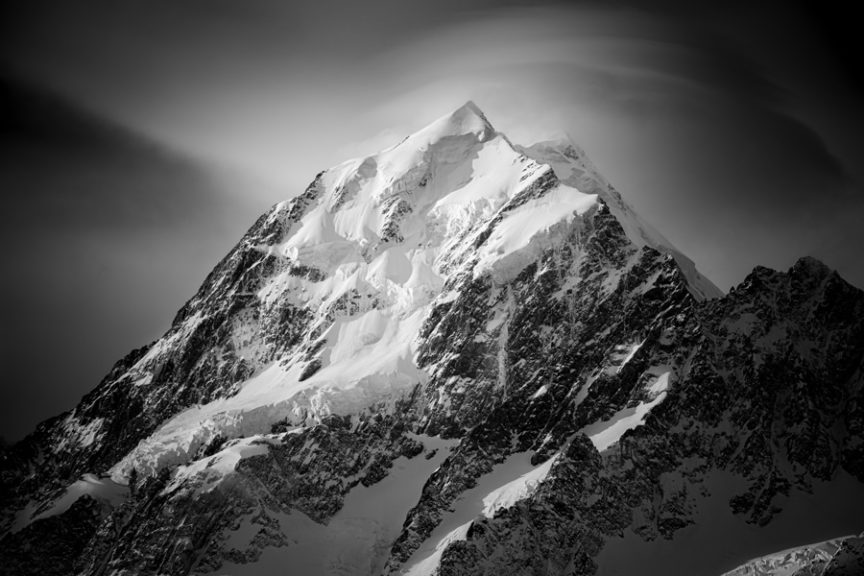 A dramatic snow covered mountain
