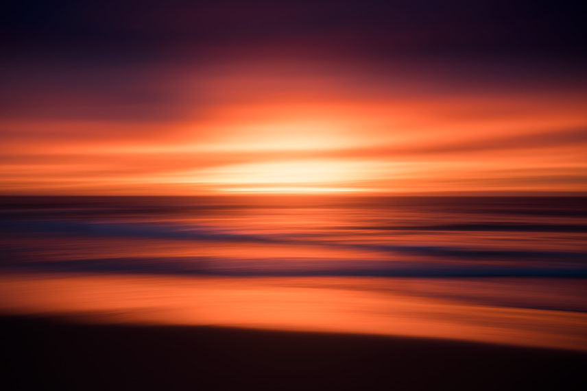 A vibrant sunrise slow shutter photo