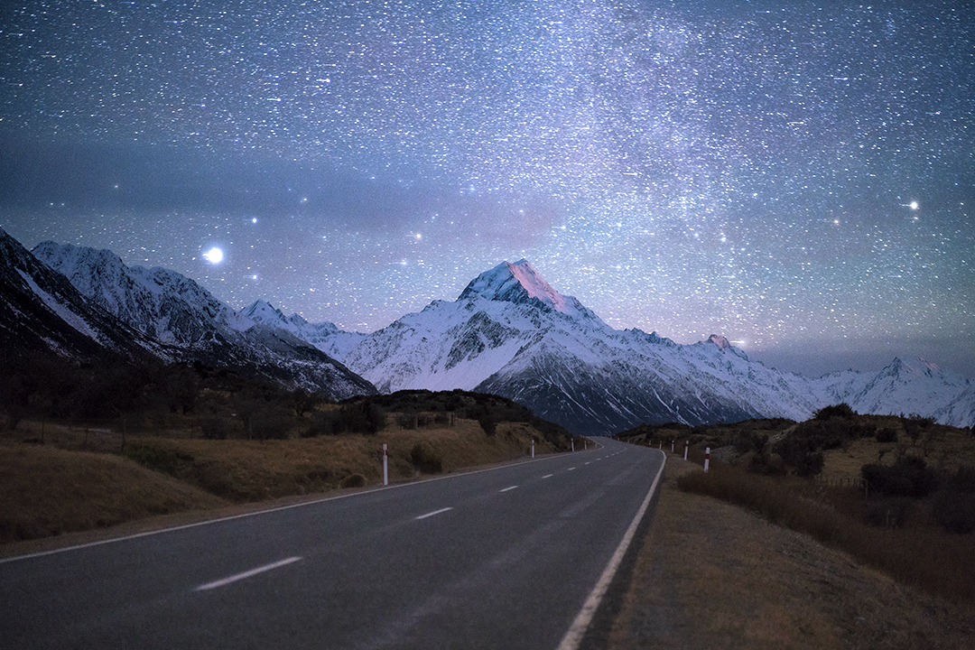 Mt Cook/Aoraki starry night sky