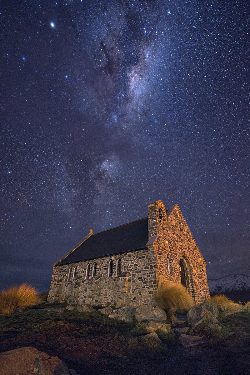 Milky Away above Church of the Good Shepherd Lake Tekapo