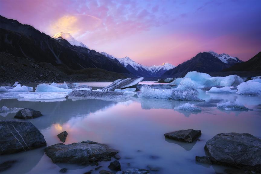 Ice lake at sunset