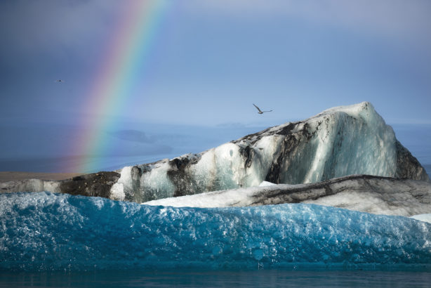 Rainbow and glacial ice