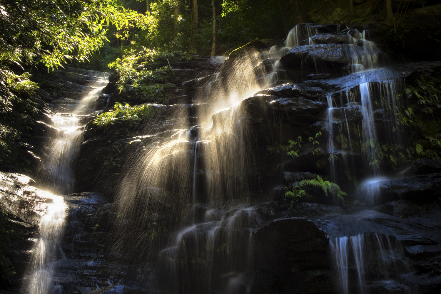 Waterfall in sunlight