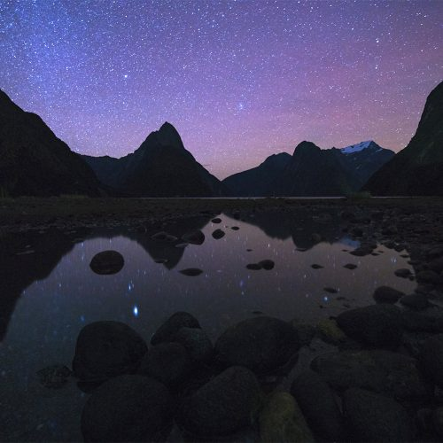 Fiordland, Milford Sound at night
