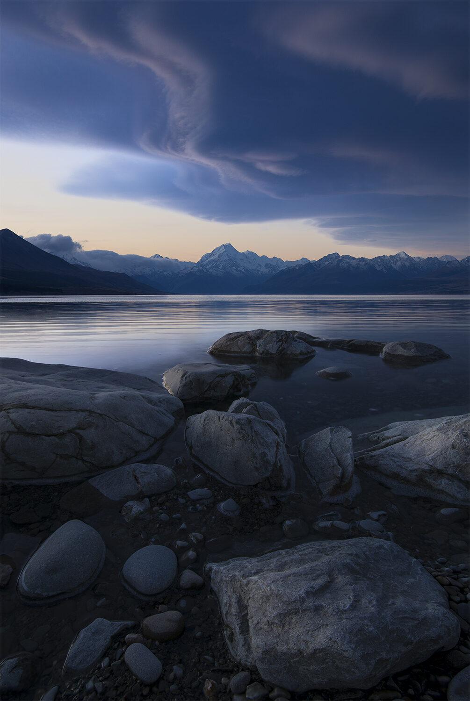 Lenticular Cloud over Lake Pukaki, Mt Cook New Zealand