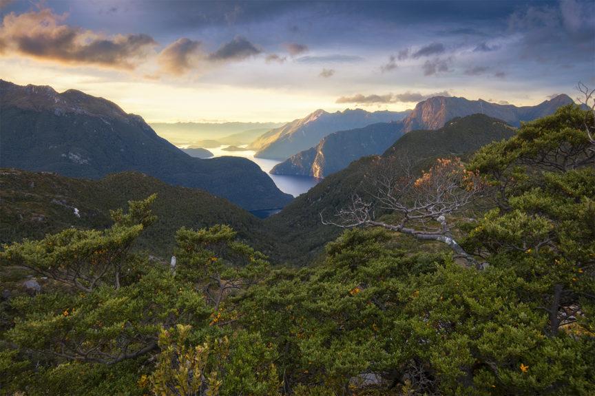 Sunrise over Lake Manpouri New Zealand