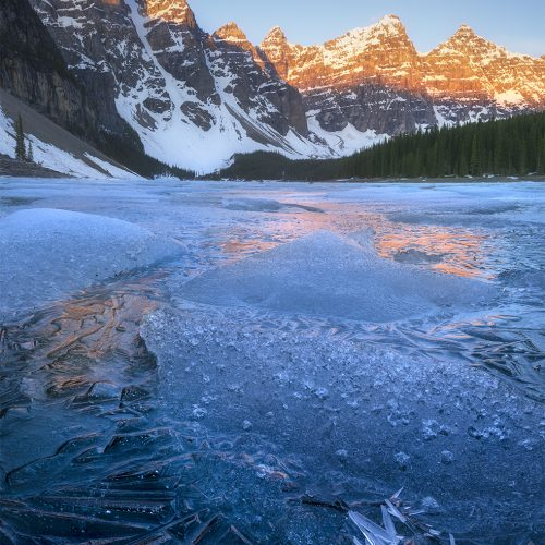 Moraine Lake, winter sunrise Canada