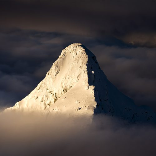 A mountain peak rising above the cloud.