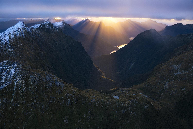 Crepuscular rays, Fiordland New Zealand