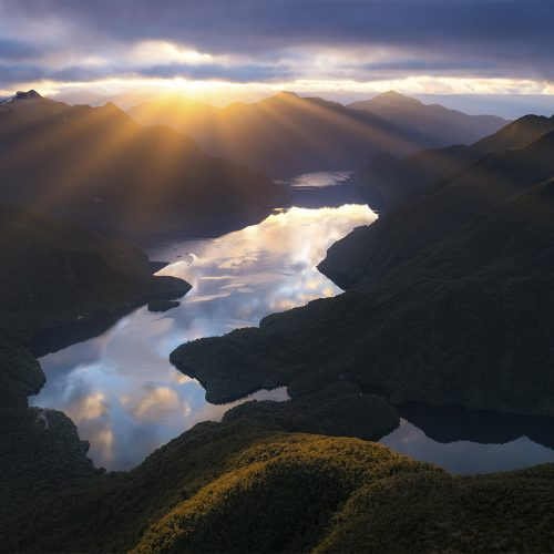 Crepuscular rays over Fiordland