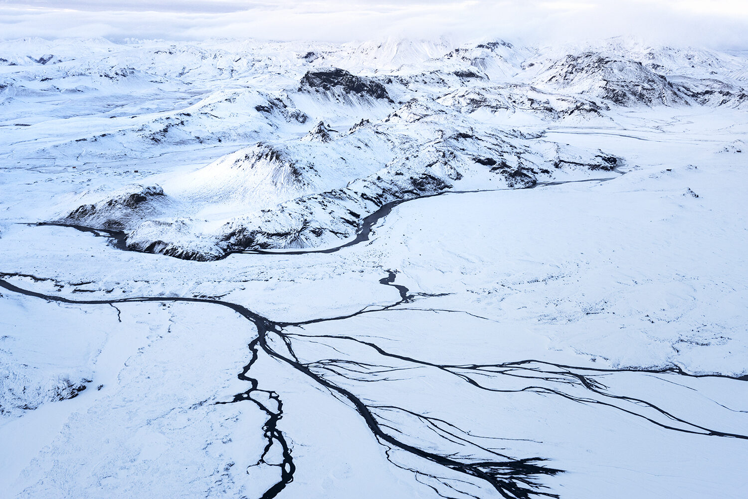 Winter aerial over Iceland.