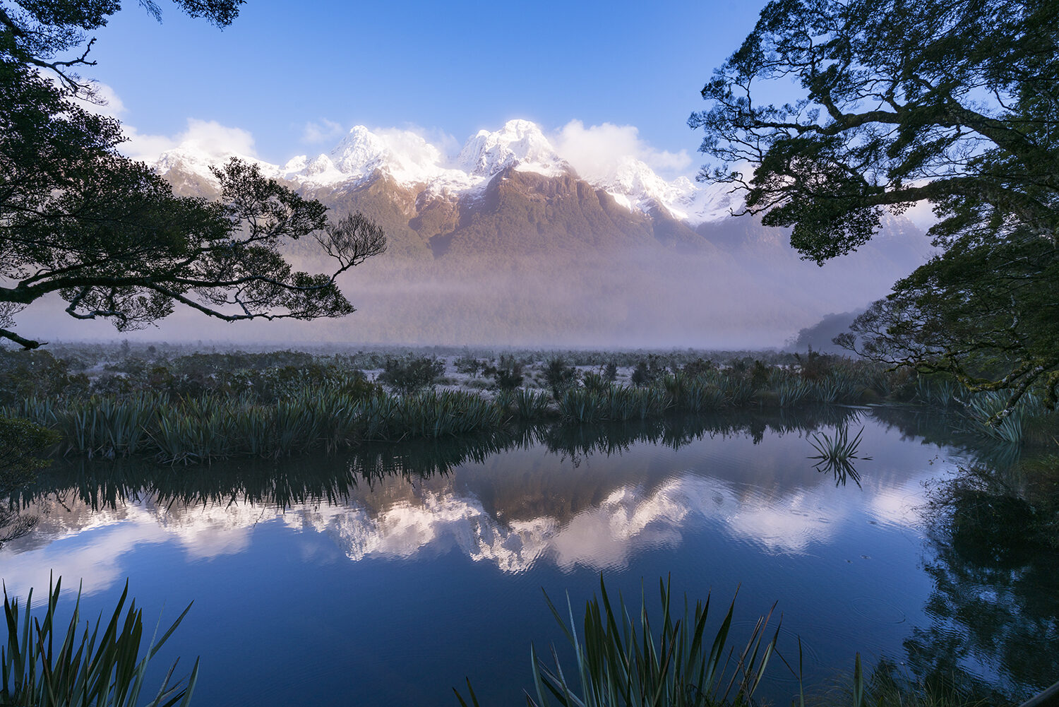 Mountains and trees reflected in a lake.