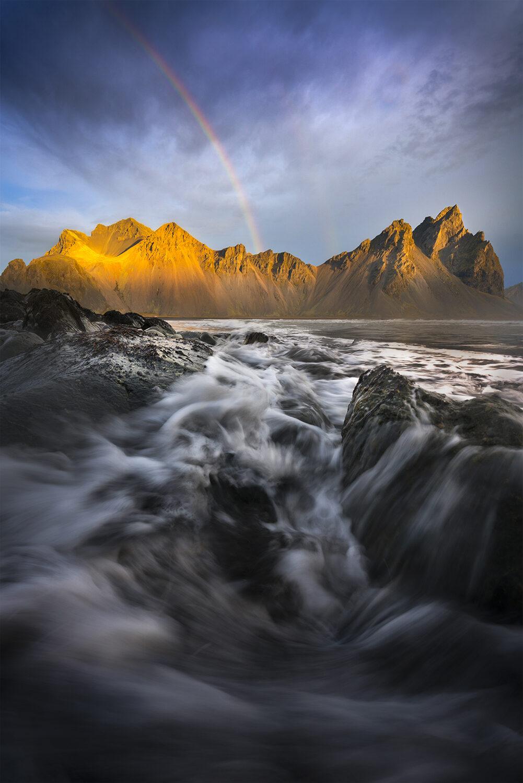 Rainbow over Vestrahorn mountain, Iceland