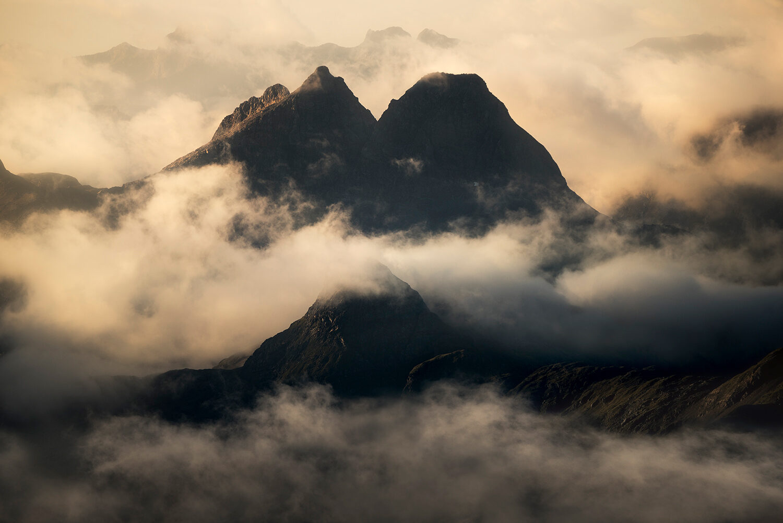 Mountain layers through the cloud - Fiordland