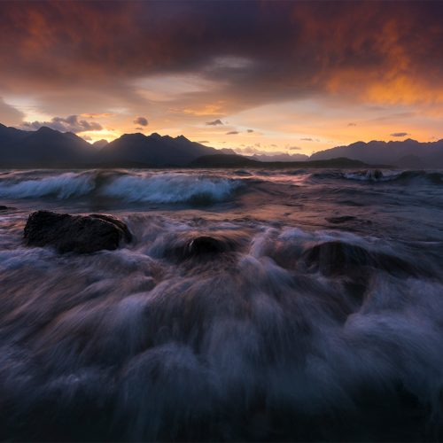 Strong winds over Lake Manapouri at sunset