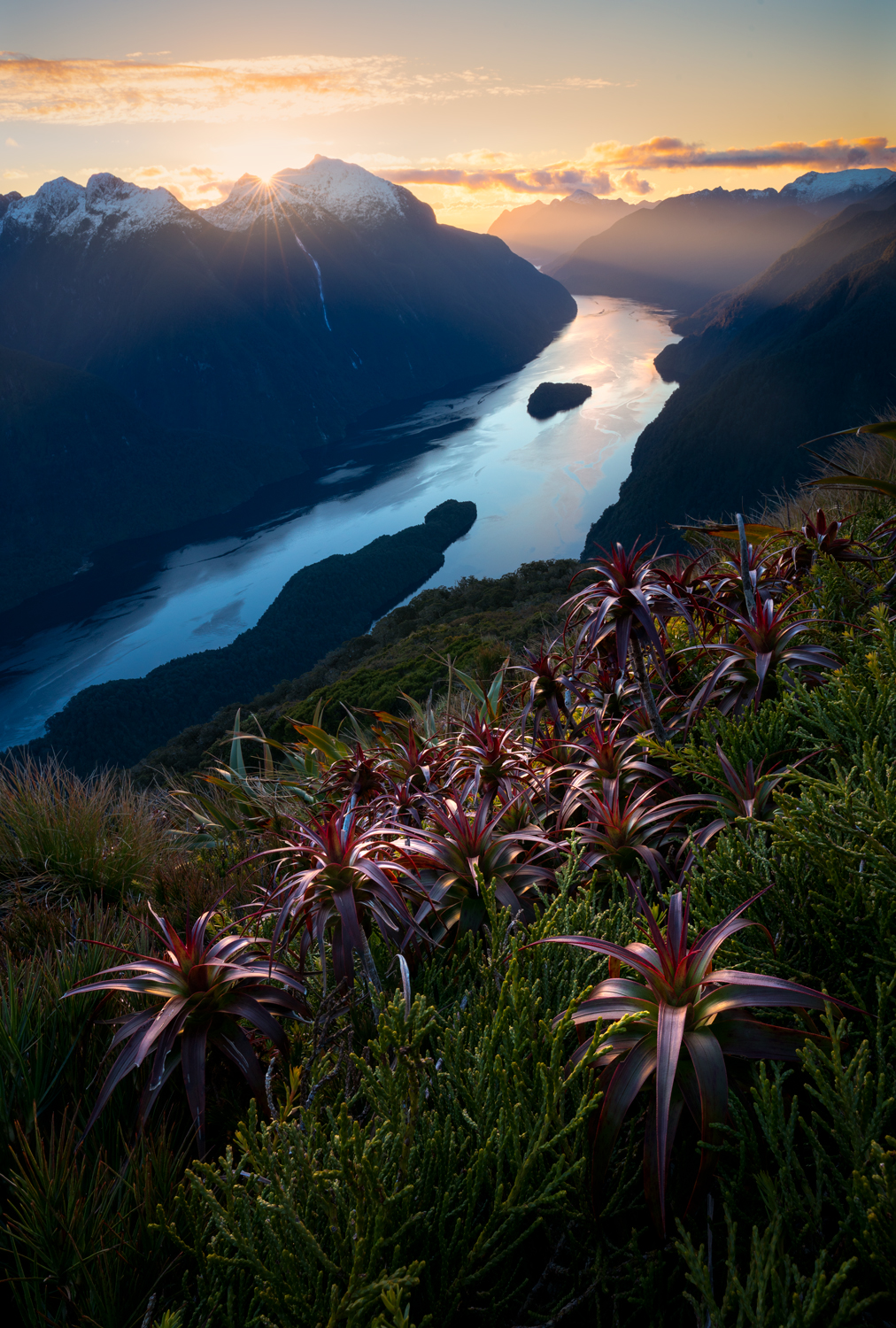 Sunset over Doubtful Sound, New Zealand