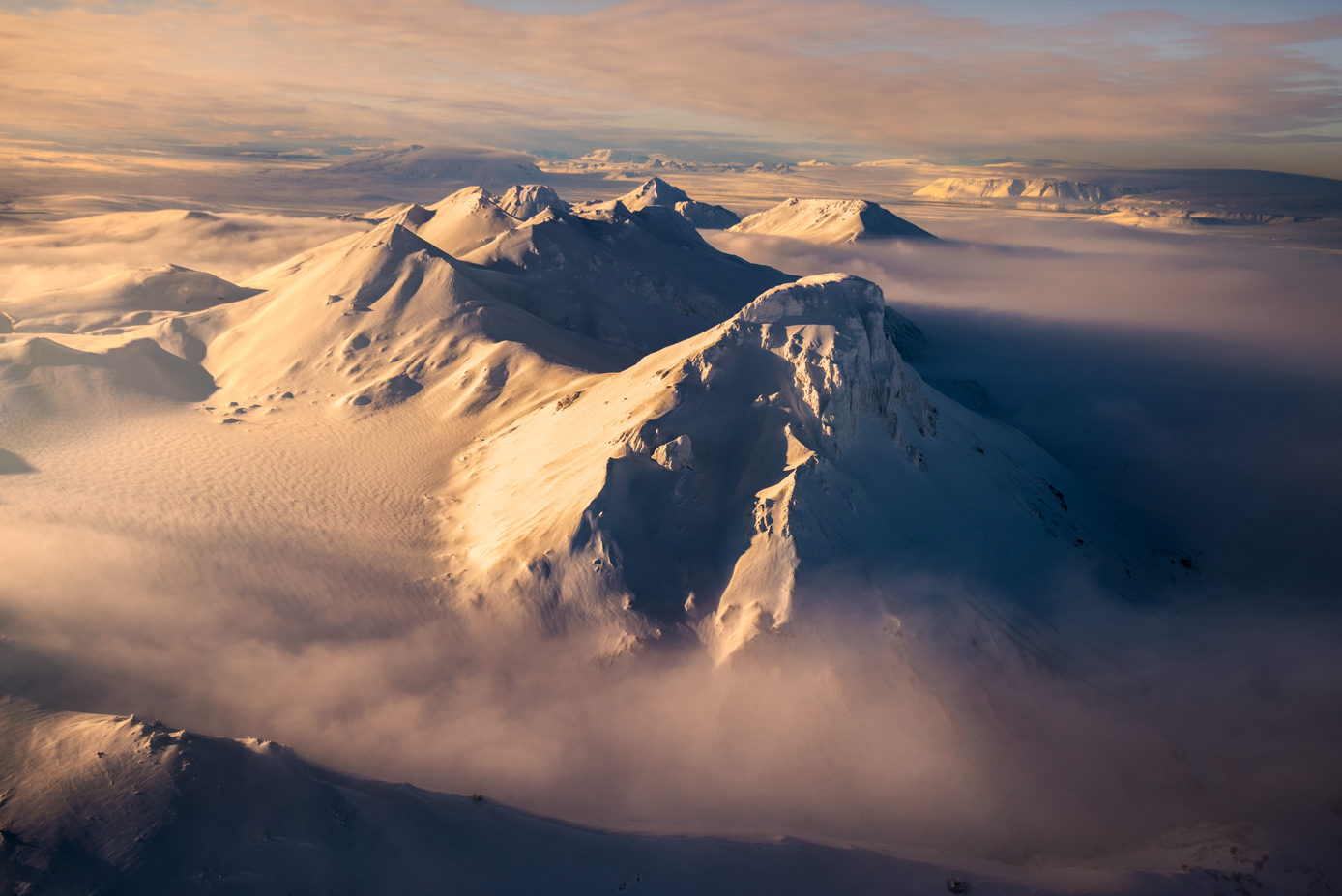 Snow capped mountains of Iceland