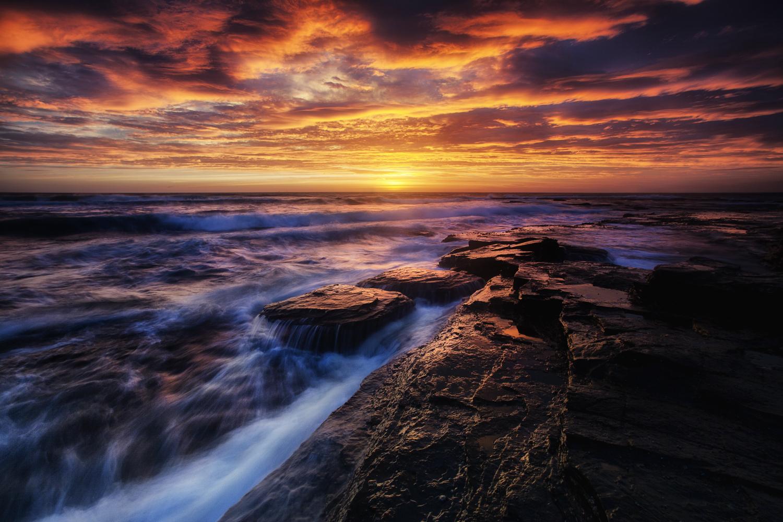 Colorful sunrise over the sea.