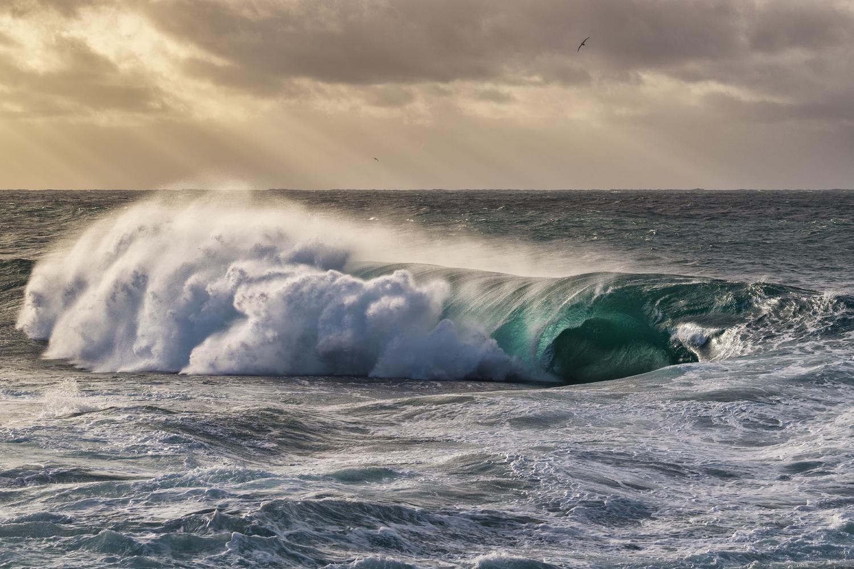 Light shining through a breaking wave.