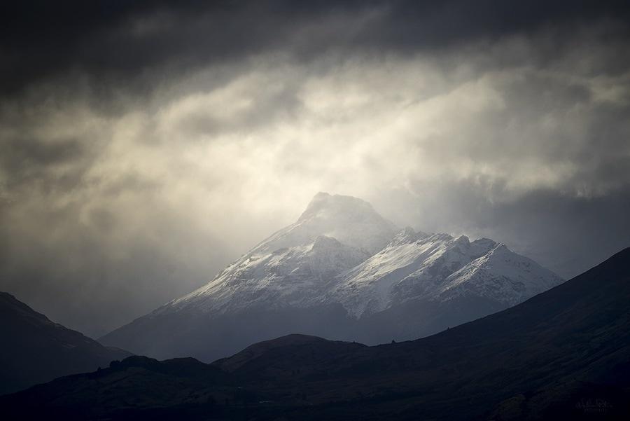 A moody mountain scene.