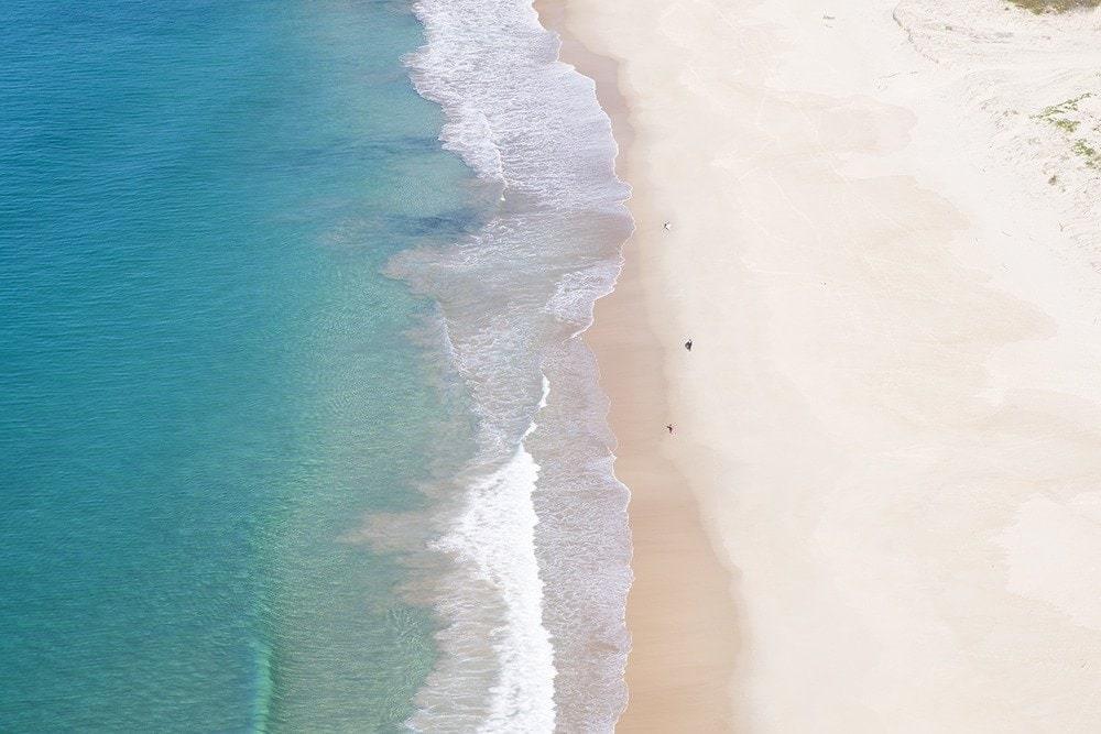 Aerial view of a clean beach.