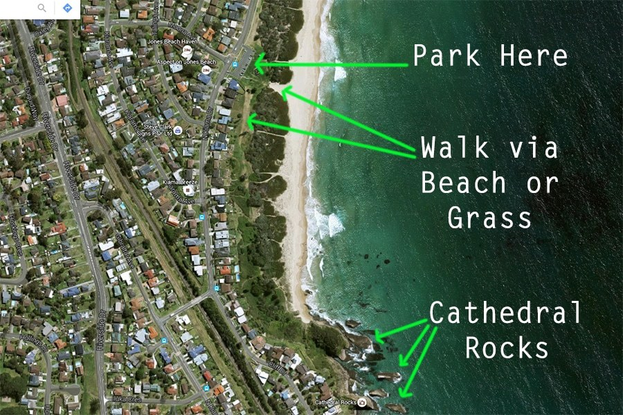 Map of Cathedral Rocks Kiama