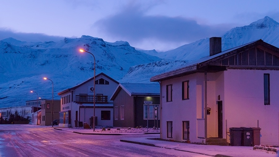A snow covered town in Iceland
