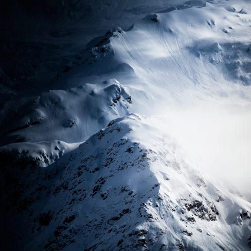 Light and shadow on snowy mountains