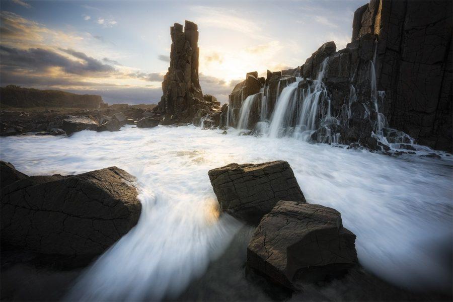Waterfall over basalt columns
