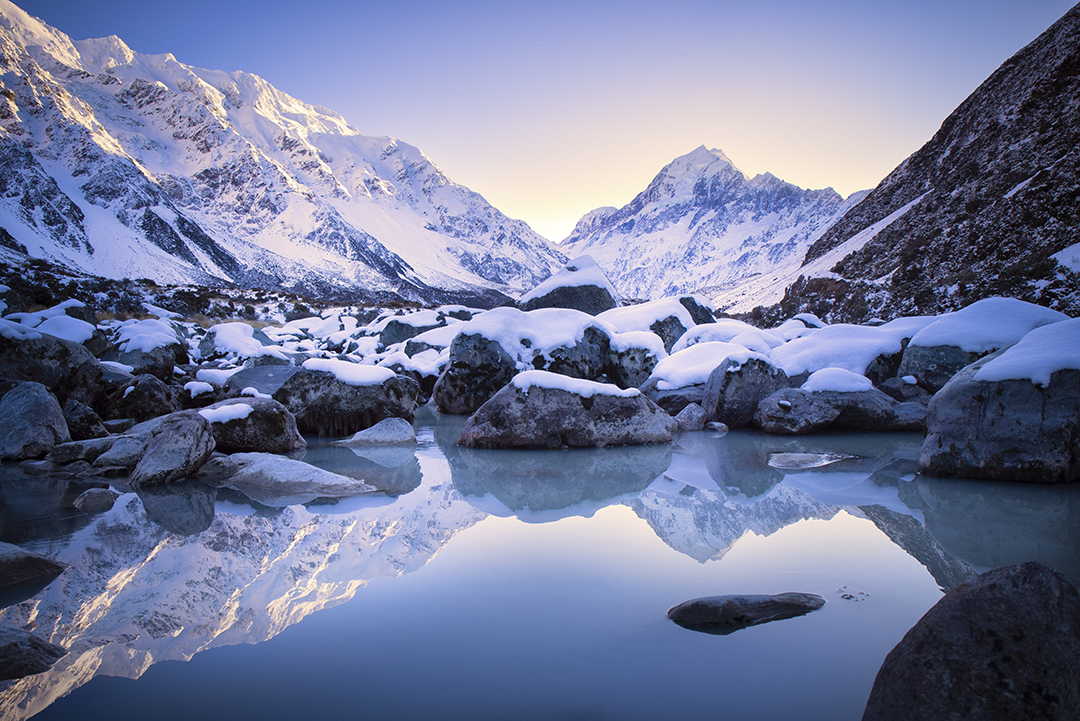 Mt Cook reflected in a tarn