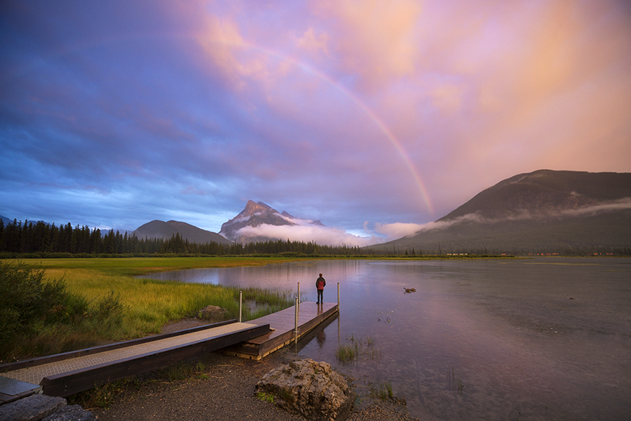 Sunset and rainbow over Vermillion Lakes, Banff Canada