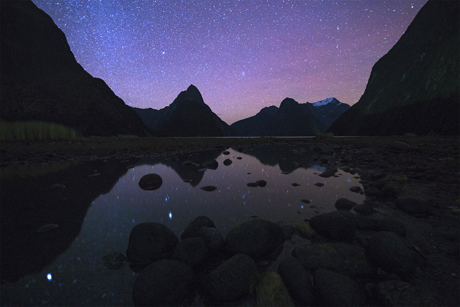 Stars above Milford Sound New Zealand