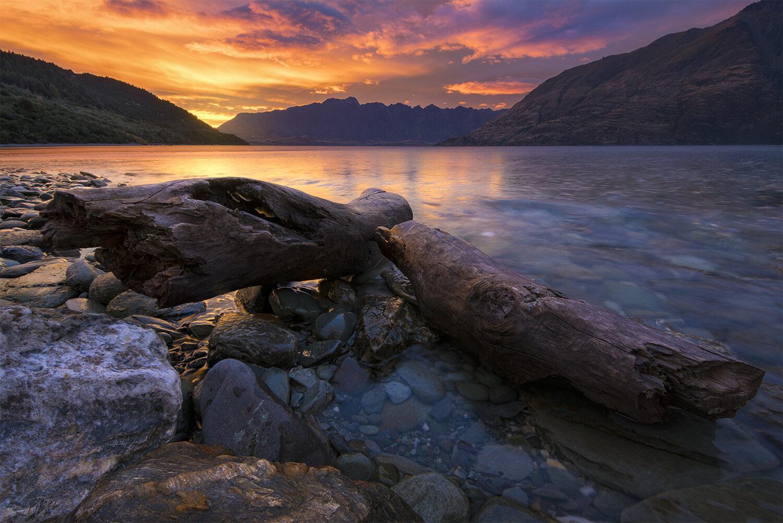 Colourful sunrise,Lake Wakatipu Queenstown New Zealand
