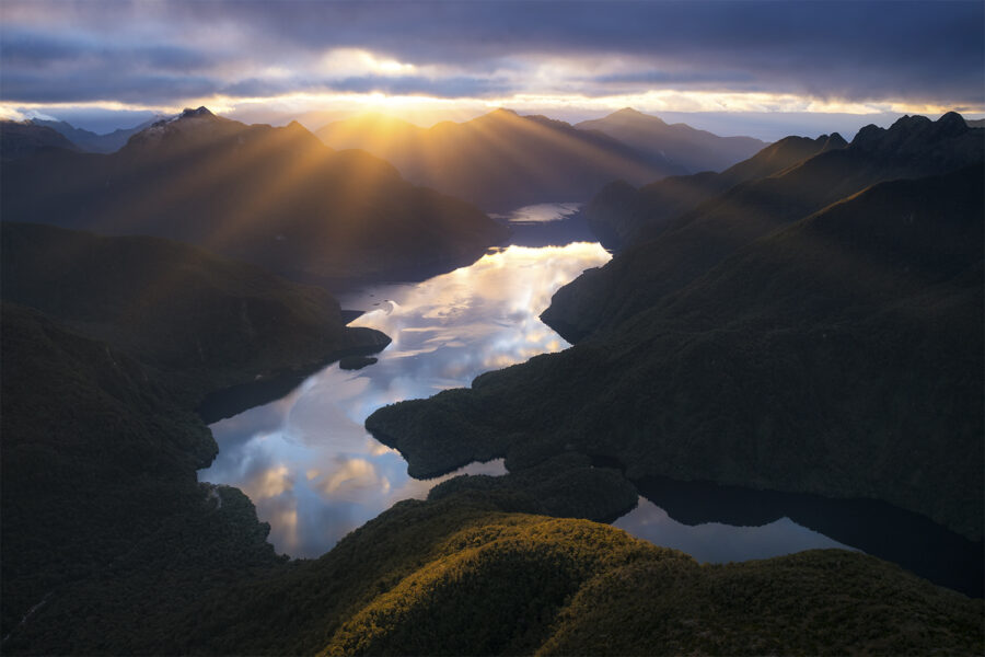 Crepuscular rays over Fiordland
