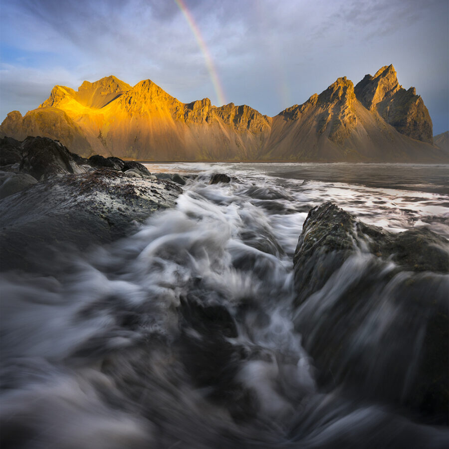 Sunrise rainbow over Vestrahorn, Iceland