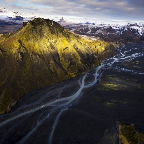 River braids and mountain, Iceland