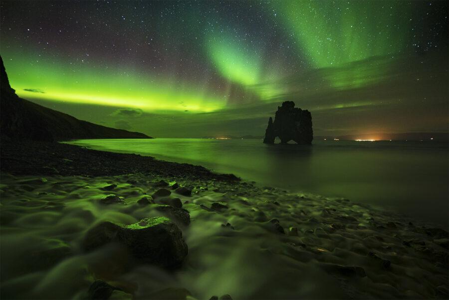 Northern Lights over sea stack