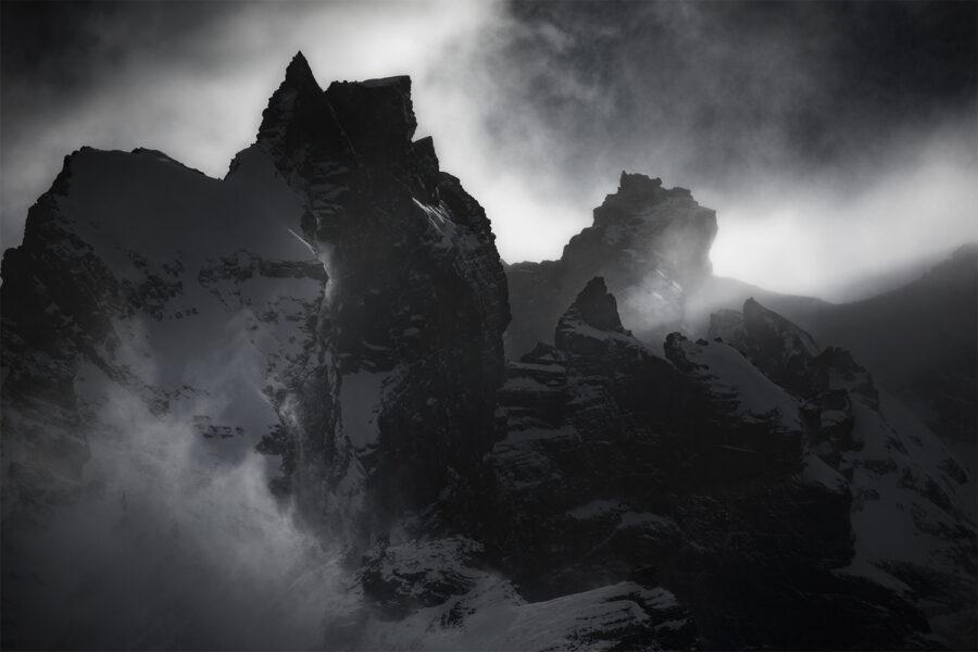 Sunlight cloud on snow mountainscape