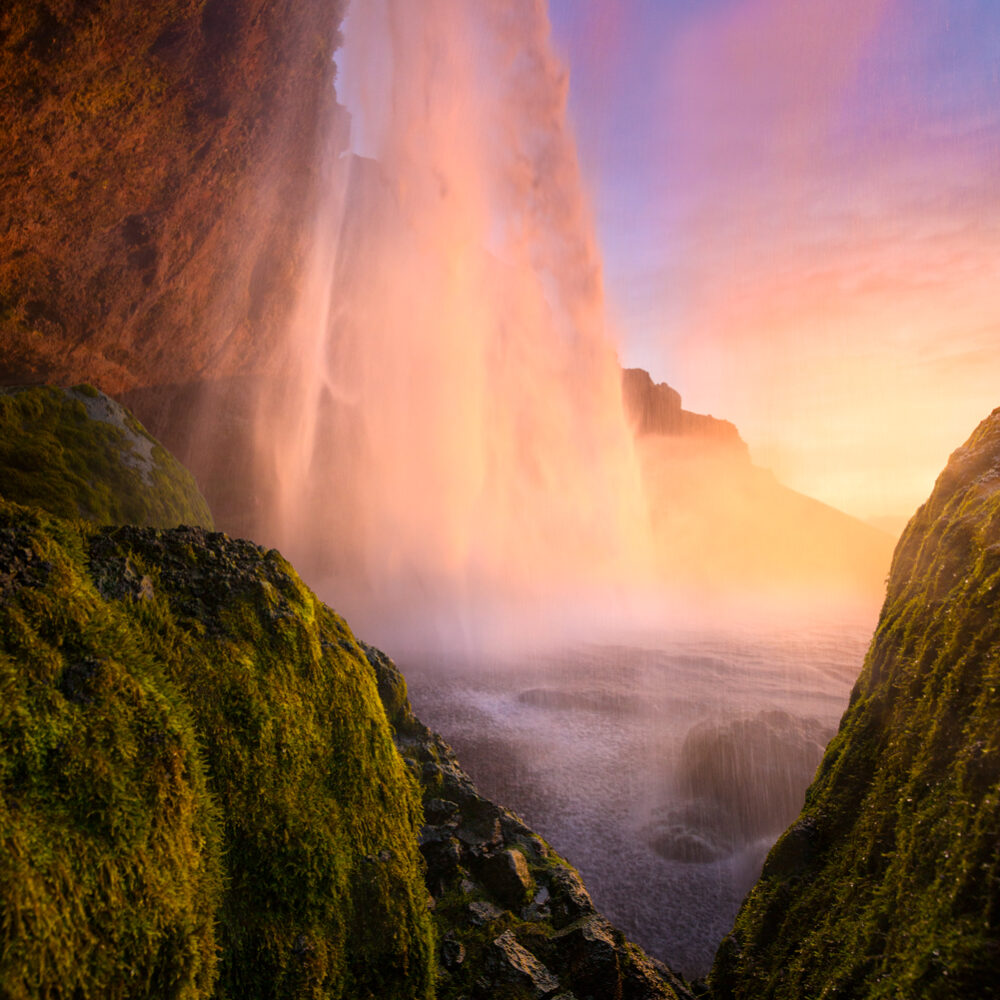 Sunset waterfall in Iceland