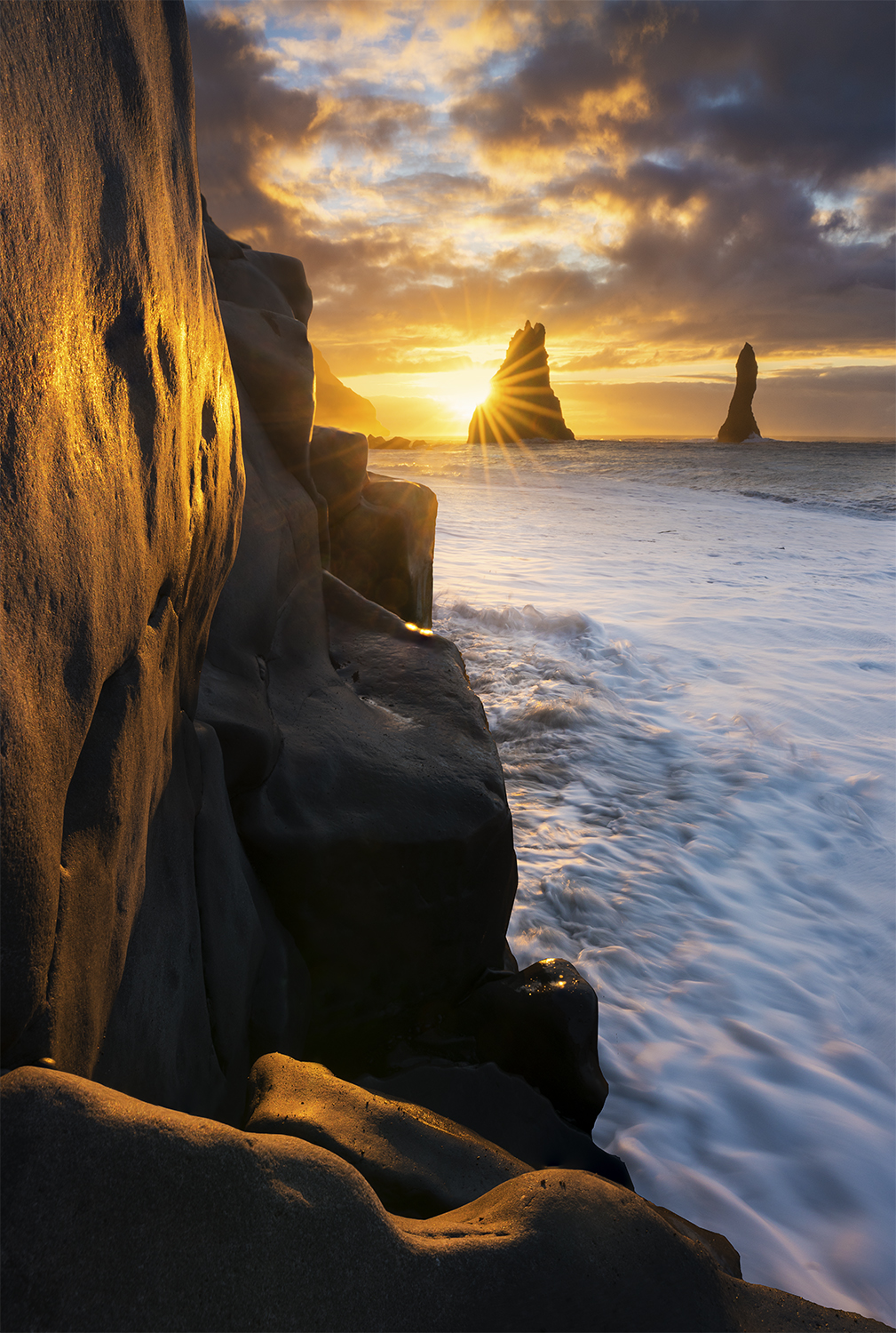 Black sand beach and sea stacks, Iceland