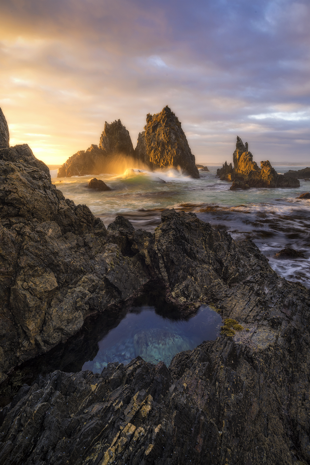 Sea stacks at dawn, Bermagui - Camel Rock